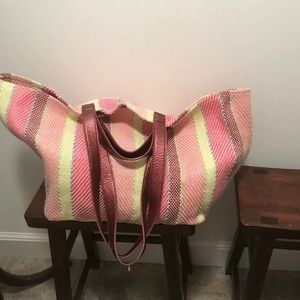 New Anthropologie cotton blend woven tote bag